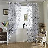 URIJK 250cmx100cm Transparent Gardine Blumen Muster Fenster Dekoration Vorhang Schal mit Ösen für Wohnzimmer Schlafzimmer Kinderzimmer(1 Stück)