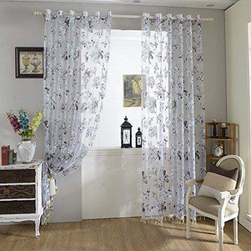 Urijk trasparente 250cmx100cm gardine fiori modello finestra decorazione tenda sciarpa con asole per soggiorno camera da letto stanze (1pezzi)