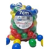 100 Stück Bällebad Bälle 7cm in Kindergarten & Gewerbequalität Babybälle Plastikbälle ohne gefärhliche Weichmacher (TÜV zertifiziert = fortlaufende Prüfungen seit 2012)