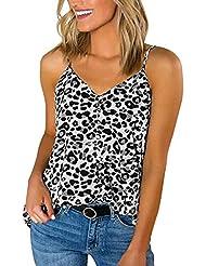 Chaleco de Mujer Camiseta Sin Mangas Estampado de Leopardo Cuello en v Espalda Abierta Suelto y cómodo Slim-fit Sling Vestido Fiesta Top Casual Primavera Verano Marlene1988