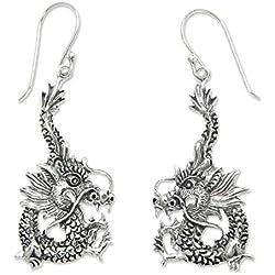 Novica dragón de plata de ley pendientes colgantes de dragón Splendor '