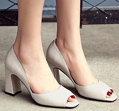 Hochhackige Sandalen Fischkopf Frauen Sandalen Sommer Sandalen und Pantoffel Schuhe des Fuß quadratischer Kopf dick mit flachem Mund weiblicher Sandalen White