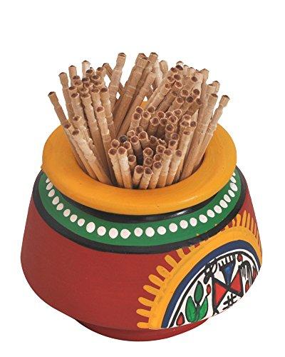 VarEesha Terracotta Handpainted/Hancrafted/ Toothpick holder /Designer/Unique Warli Red Toothpick Holder /ToothBrush Holder Red- For Dinning & Kitchen