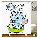 Gnzoe Polyester Bad Vorhang Baden Elefant Muster Design Badewanne Vorhang Bunt für Badezimmer/Badewanne 180x200CM