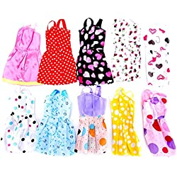 Idream 10Pcs Multicolor Handmade Party Dress Fashion Clothes For Barbie Doll Play House