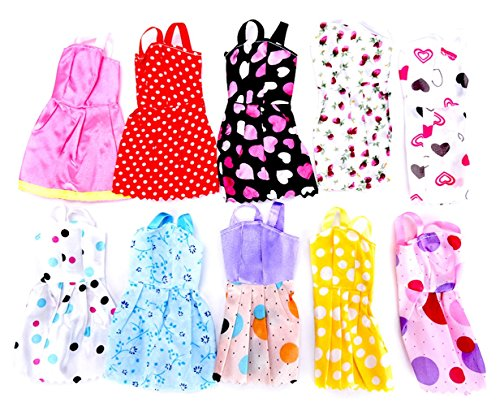 10pcs-Multicolor-Beautiful-Handmade-Party-Dress-Fashion-Clothes-For-Barbie-Doll-Play-House-Dressing-Up-Costume