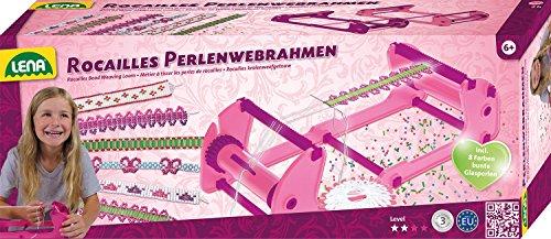 Lena 42682 - Bastelset Rocailles Perlenwebrahmen, Komplettset zum Weben von Freundschaftsbändern mit Webrahmen, Zwirn, Nadel und 60 g Rocailles Perlen in 8 Farben, Webset für Kinder ab 6 Jahre