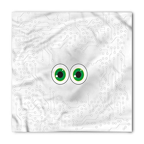 a, Eye Form Digital Picture, Unisex Bandana Head and Neck Tie Neckerchief Headdress Silk-Like 100% Polyester ()
