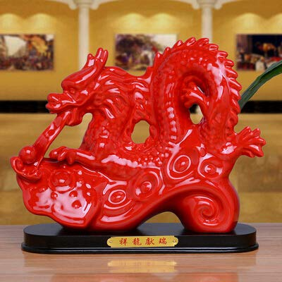 THEALEEWIN Chinese Zodiac New Year Keramik Tiere Dekorationen Wohnzimmer Dekoration Handwerk Drachen 22.3 * 8.5 * 18.6 cm (Handwerk Year Chinese New)