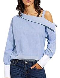 Tongshi Mujeres azul doble rayas hombro asimétrico de manga larga blusa