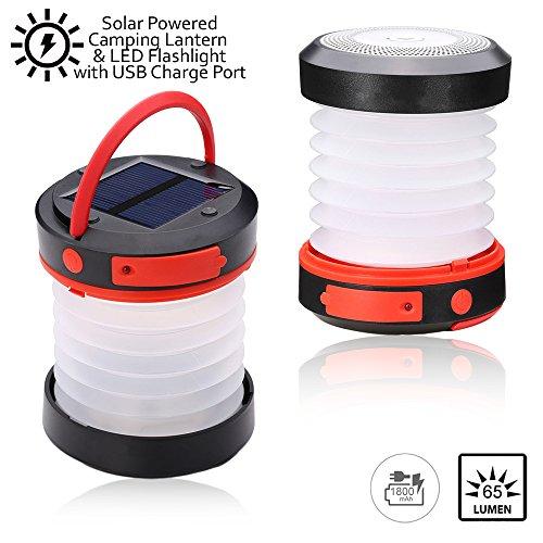 indigiâ ® klappbar Pocket LED Light Solar Camping Laterne & Taschenlampe mit USB Not Powerbank–Solar Survival Gear–Ideal für Zelt Camping, Wandern, Home & Automotives (Amp Automotive)