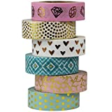 UOOOM 6 Rolls 10m x 15mm Beautiful Farbe und Gold Washi Tape Masking Tape deko klebeband...