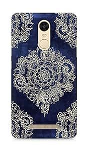 AMEZ Cream floral moroccan pattern on deep indigo Back Cover For Xiaomi Redmi Note 3