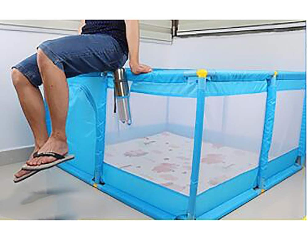 Blue Large Children Palypen, Protable Baby Safety Play Center Yard for Indoor Outdoor,190×128×66cm (Size : Playpen+mat+ball)  BSNOWF