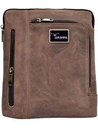 Tamanna Men & Women Brown Genuine Leather Sling Bag (Brown Colour)