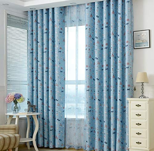 Aooword-home Winter Panels vorhänge Easy Care Grommet drucken Thick strukturierter für Schlafzimmer, Wohnzimmer, Patterned lichtundurchlässige Energy smart Saving (1 Panel) 98x106inch Blau (Blaue Schabracken Für Windows)