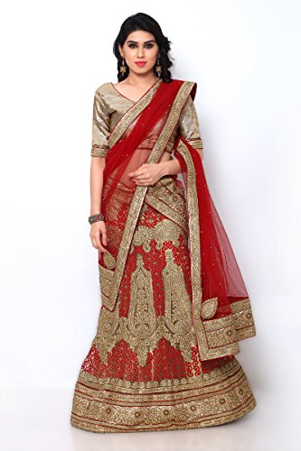 NAAIDAAKHO BEIGE AND RED COLOR NET LEHENGA CHOLI