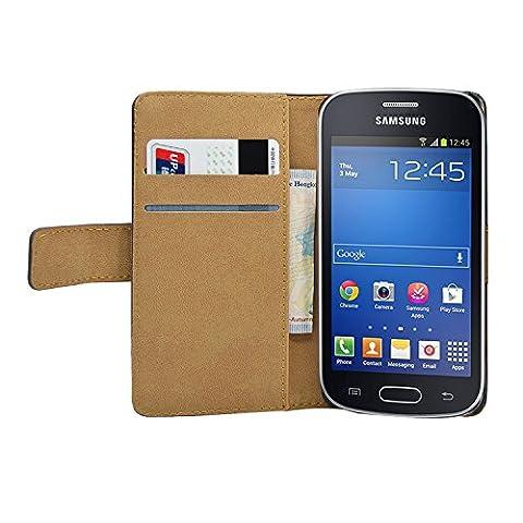 Membrane - Noir Portefeuille Etui Coque Samsung Galaxy Fresh (GT-S7390 / Trend Lite / S7392 Duos) - Wallet Case Housse + 2 protections d'écran