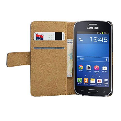 Membrane - Schwarz Brieftasche Klapptasche Hülle Samsung Galaxy Fresh (GT-S7390 / Trend Lite / S7392 Duos) - Wallet Case Cover Schutzhülle + 2 Displayschutzfolie