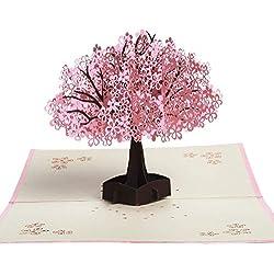 3D-Grußkarte,KOLIER 3D Kirschblüten-Grusskarte Grusskarten mit Blanko-Umschlägen zum Valentinstag, Hochzeit, Brautparty, Babyparty Vatertag - Jeder Anlass (3D Kirschblüten-Grusskarte)