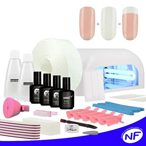 Kit vernis UV ou LED SEMI PERMANENT french manucure twincoat blanc et rosé lampe uv 36 watts