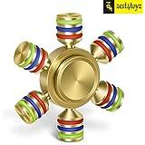Zest 4 Toyz Tri-Spinner Fidget Spinner Toy ,Brass Golden