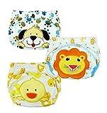JZHY Pantalones 3 Pack entrenamiento del bebé del paño de algodón lavable para el niño niños Chico XL