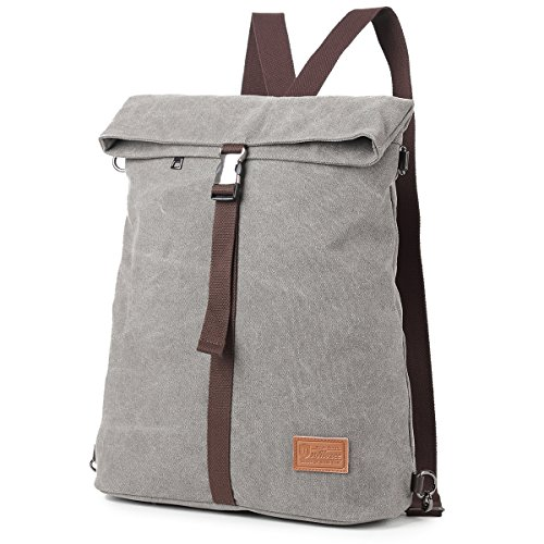 Kebos Canvas Tasche Rucksack aus Segeltuch Tasche Schultertasche Große Umhängetasche Crossbody|Raumwunder und Anti Diebstahl| für Männer und Frauen