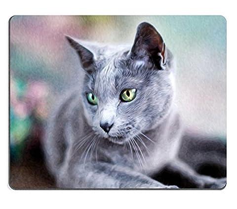 MSD Tapis de souris Image 10418724Portrait d'une Pedigree Chat Bleu russe en style de peinture à l'huile 794