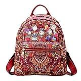 Tefamore Bolsos Mochila Mujer Bolsos de Hombro Salvaje Bolsos Fiesta Mujer Bolso de Viaje Forest Casual Backpack (Rojo)
