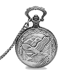 Dice Pocket watch-SG113 Unisex Antique case Classic Vintage Rib Chain Quartz, Steel Gray Metallic Tone. Outer Body Shows Beautiful Embossed Flying Eagle.