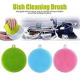 Éponge silicone, Tpulling 3Pcs Vaisselle en silicone éponge lave linge outil de nettoyage cuisine (Multicolor)