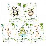 nikima Schönes für Kinder - 5 Einladungskarten Set - Krokodil, Panda, Faultier, Giraffe, Affe inkl. 5 Briefumschlägen Kinder Geburtstag Mädchen Junge Einladung Feier Party