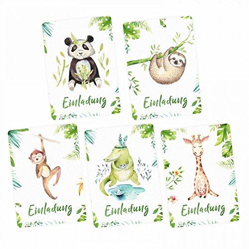 nikima Schönes für Kinder - 5 Einladungskarten Set - Krokodil, Panda, Faultier, Giraffe, Affe inkl. 5 Briefumschlägen Kinder Geburtstag Mädchen Junge Einladung Feier Party (Einladungen Safari-geburtstags-party)