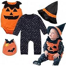 DOLDOA Bebé recién nacido Bebé Estrella Calabaza Romper traje de Halloween Conjunto de disfraces ❦❦Halloween dio al bebé el regalo más íntimo❦