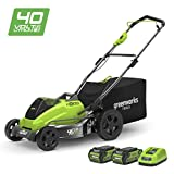 Greenworks Tondeuse à gazon Brushless sans fil sur batterie 45cm 40V Lithium-ion...