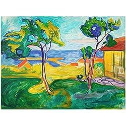 Bilderwelten Glasbild - Kunstdruck Edvard Munch - der Garten in Åsgårdstrand - Expressionismus Quer 3:4, Größe HxB: 75cm x 100cm