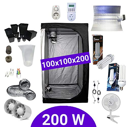 Kit Coltivazione Indoor 200W CFL Crescita e Fioritura - Grow Box...
