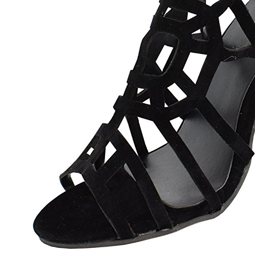Oasap Sexy Black Buckled Summer Gladiator Stiletto Sandals Black