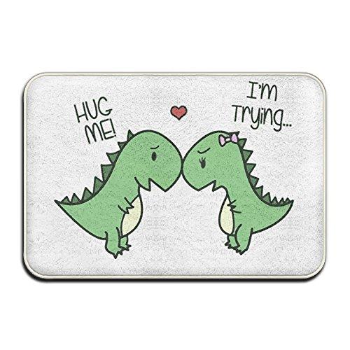 Zwei Dinos auf der Love jedes anderen weichen Fußmatte ENTRANCE Mat Fußmatte/Front Tür/Bad-Teppich Matten Gummi rutschfeste, Mikrofaser Gummi, weiß, Einheitsgröße