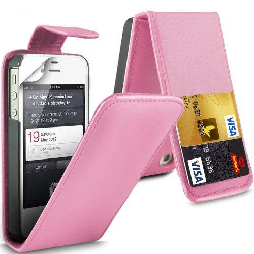 (Baby Pink) Apple iPhone 4/4S Schutzfolie Faux Leder Debit/Credit Card Steckplatz Flip Case Cover & 3 Screen Protector Guard von Aventus * * Baby Pink Hard Gummi