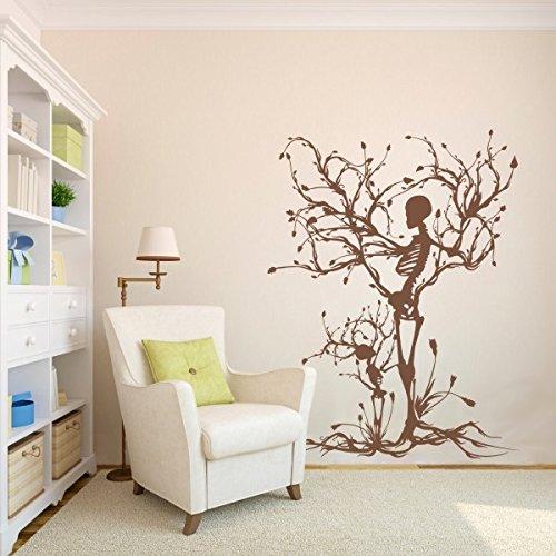 Baum Wand Aufkleber Tree of Life Wand Grafiken Skelett Aufkleber Schlafzimmer Vinyl, Vinyl, braun, 60