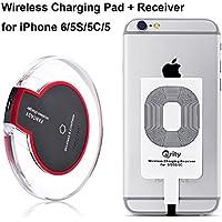 Qrity Drahtlose Qi Ladegerät Induktive Ladestation Qi Wireless Charger Charging Pad Dock Station + iPhone Empfänger für iPhone 7 6s 6 5s 5c, 6s plus, 6 plus, Samsung Galaxy S7 S6, S6 Edge, Note 5, Nexus 7 2nd Gen, Nexus 4/5/6, LG G2/G3 usw