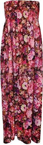 nouveaux Femmes Imprimé floral Tropical Summer Sheering Boob Maxi Dress 36-54 Cerise Floral