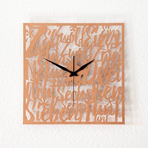 Typografische Wanduhr aus Holz in Bronze 'Memories' -