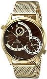 August Steiner Herren Quarz-Uhr mit Braun Zifferblatt Analog-Anzeige und Gold Edelstahl Armband as8168ygbr