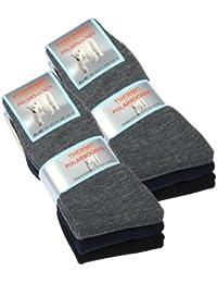 Lot de 6 paires de chaussettes homme Thermo - tissu éponge - noir/gris anthracite/marine bleu