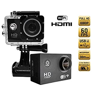 Action Camera Video 1980 1080P x 60 FPS (FULL HD Wi-Fi, Built -, In waterproof, Motion Detection/4 Cmos sensor) - 140/1.3