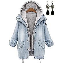 27911390a1bf1 PIPIHU Mujer Mezclilla Chaquetas con Capucha Capa Chamarra Doble  Abrigos+Chaleco Outwear Invierno
