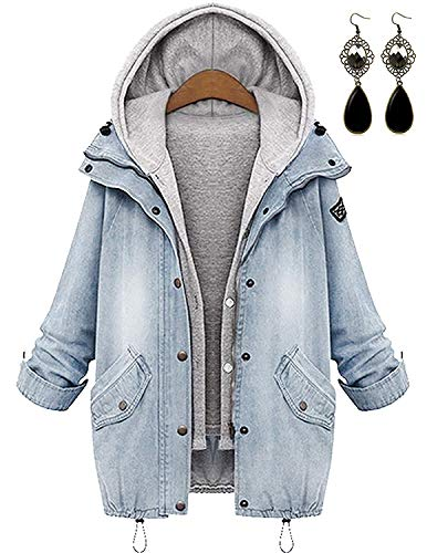 PIPIHU Damen Oversize 2 in 1 Jeansjacke + Hoodie Weste Winterjacke Langarmshirt Kurzjacke Freizeit Oberteil Mäntel Outwear mit Kapuze Weiß X-Large